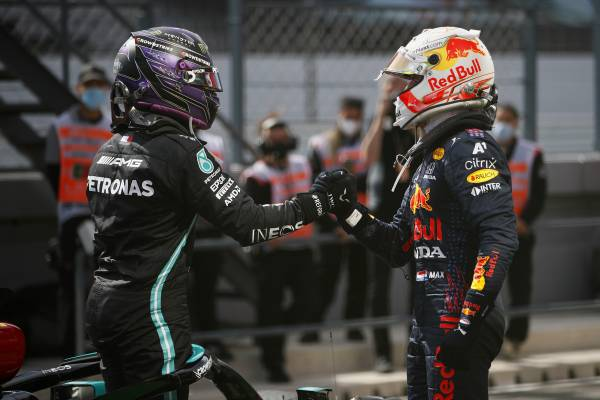 Max Splits The Mercedes At The Portuguese Grand Prix
