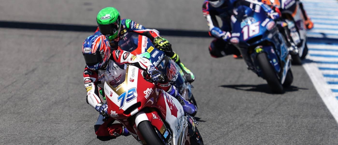 Rookie Ogura in the Moto2 mix at Jerez